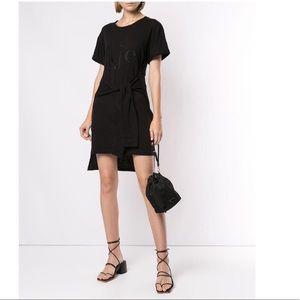Aje. Black Logo Print T-shirt Dress